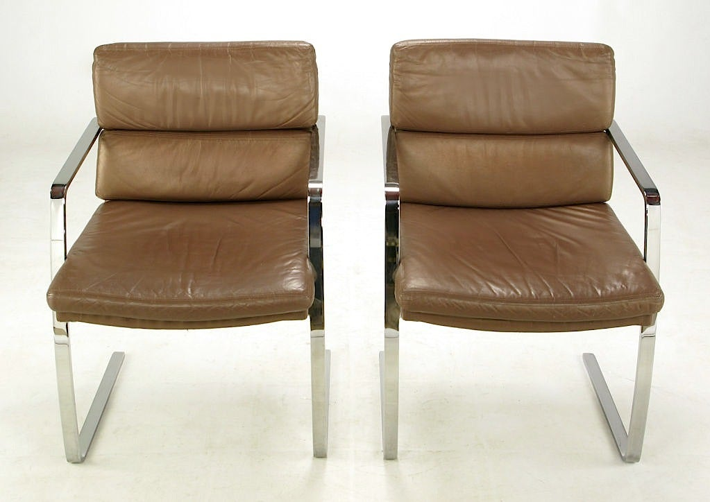 American Pair of Pace Chrome and Mocha Leather Cantilevered Armchairs For Sale