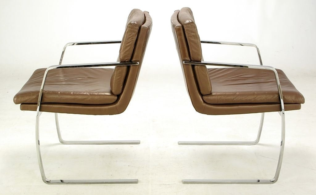 Late 20th Century Pair of Pace Chrome and Mocha Leather Cantilevered Armchairs For Sale