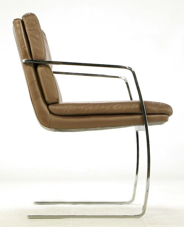 Pair of Pace Chrome and Mocha Leather Cantilevered Armchairs For Sale 2