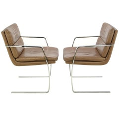 Pair of Pace Chrome and Mocha Leather Cantilevered Armchairs