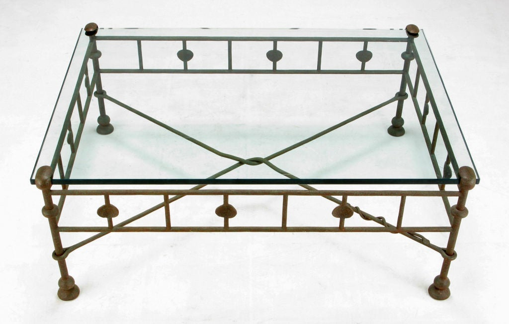 Giacometti Style Hand Wrought Iron And Glass Coffee Table At 1stdibs