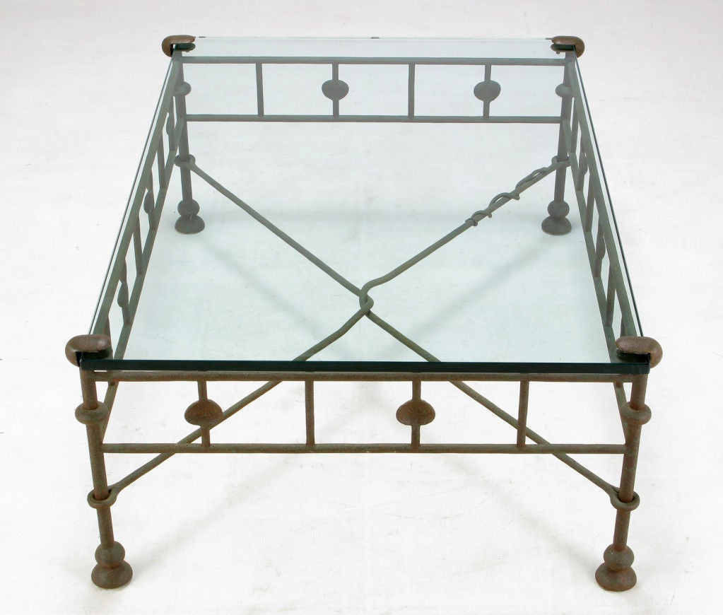 Giacometti-Style Hand Wrought Iron And Glass Coffee Table