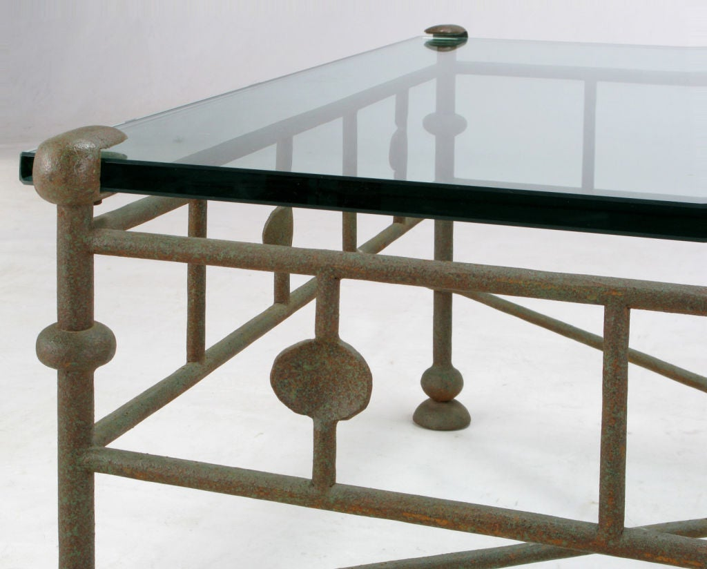 Giacometti style hand wrought iron and glass coffee table for Wrought iron and glass table
