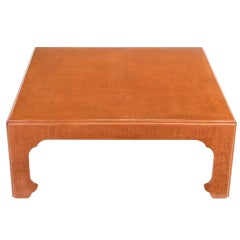 Baker Cinnabar Glazed Craquelure Ming Style Coffee Table
