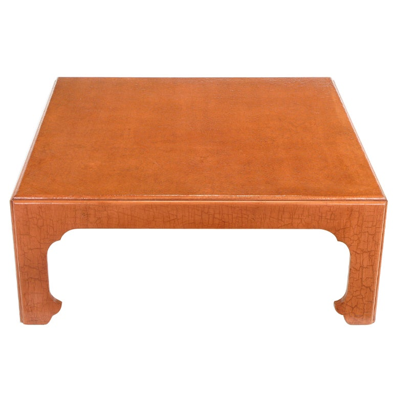 Baker Cinnabar Glazed Craquelure Ming Style Coffee Table At 1stdibs