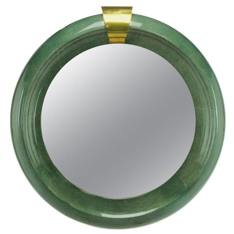 "48"" Round Blue-Green Goatskin Mirror With Brass Keystone Top"
