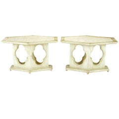 Pair Moorish Ivory Lacquer & Travertine Hexagonal Tables