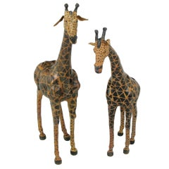"Pair Leather Clad 42"" Tall Giraffes."