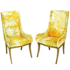 Mastercraft Burl Arm Chairs With Colorful Tie-Dyed Velvet Fabric