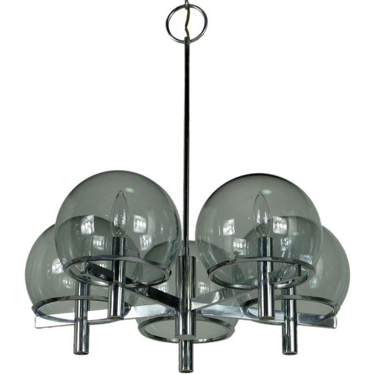 Gaetano Sciolari Chrome and Smoked Glass Five-Arm Chandelier
