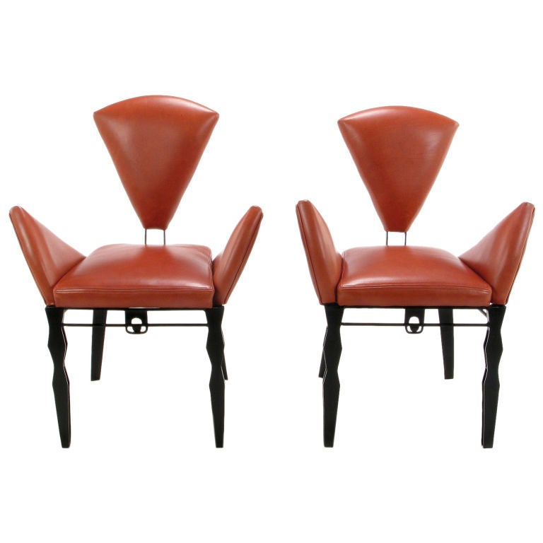 pair steel and leather vinta chairs by joaquin gasgonia