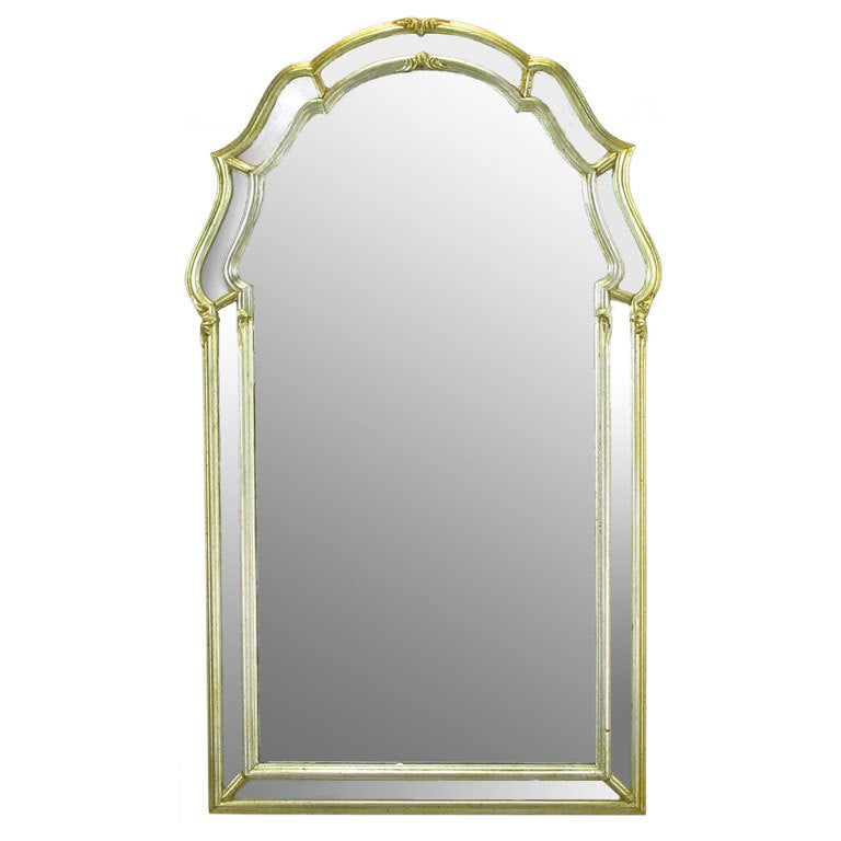 Labarge italian regency double frame aged silver leaf for Silver mirrors for sale