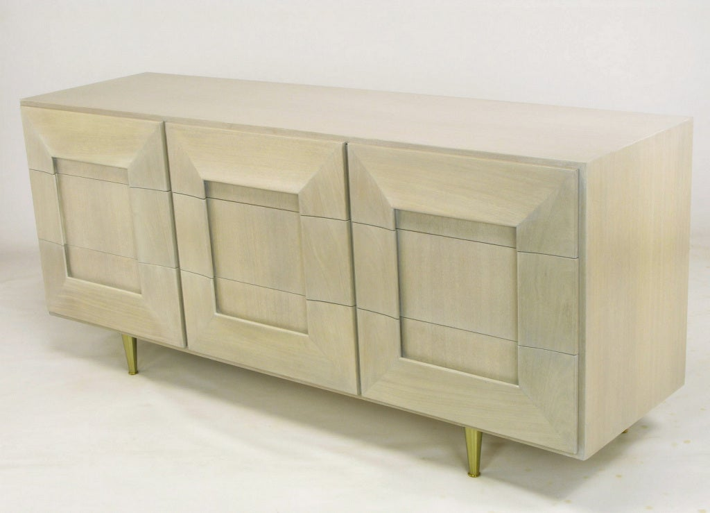 American 1950s Driftwood Finish Dresser With Picture Frame Drawer Fronts