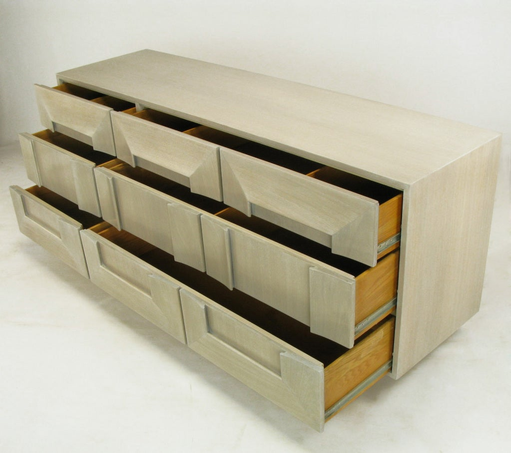 Brass 1950s Driftwood Finish Dresser With Picture Frame Drawer Fronts