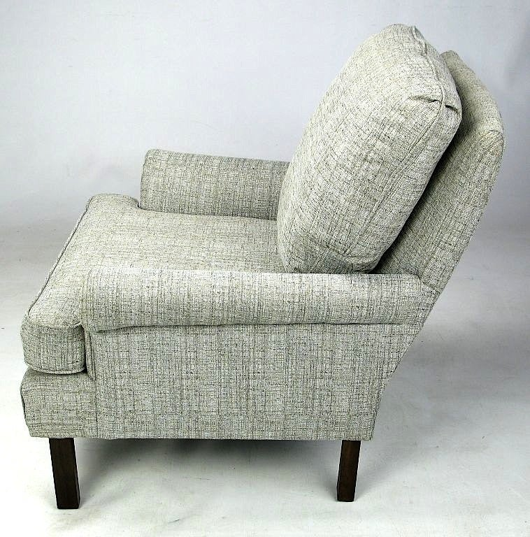 American 1950s Rolled Arm Lounge Chair In Heathered Dove Grey Linen For Sale