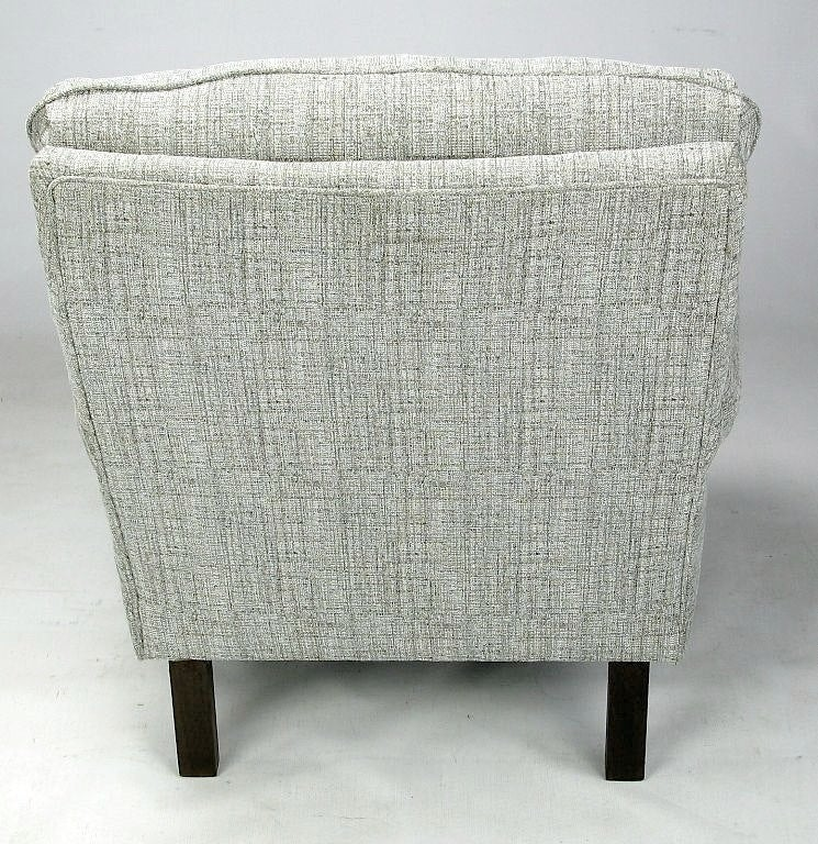 Mid-20th Century 1950s Rolled Arm Lounge Chair In Heathered Dove Grey Linen For Sale