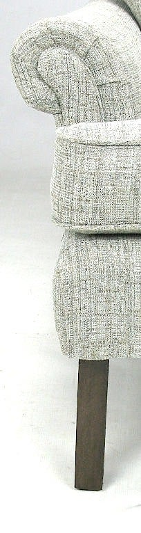 Wood 1950s Rolled Arm Lounge Chair In Heathered Dove Grey Linen For Sale