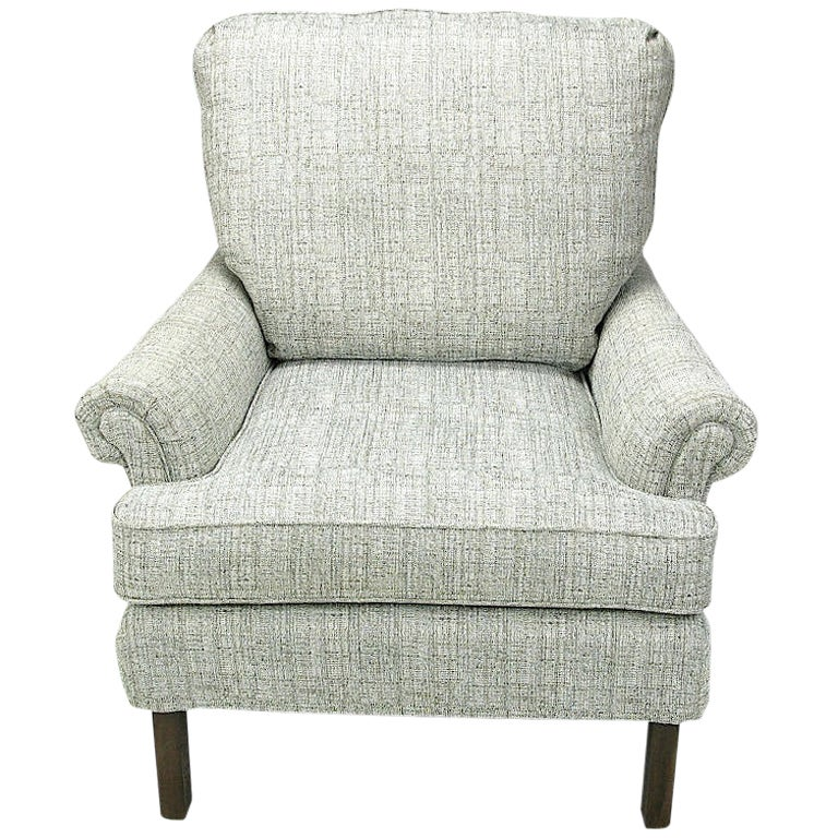 1950s Rolled Arm Lounge Chair In Heathered Dove Grey Linen