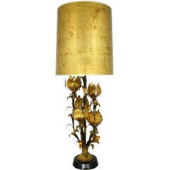 Large Gilt Metal Table Lamp with Foliate Detail