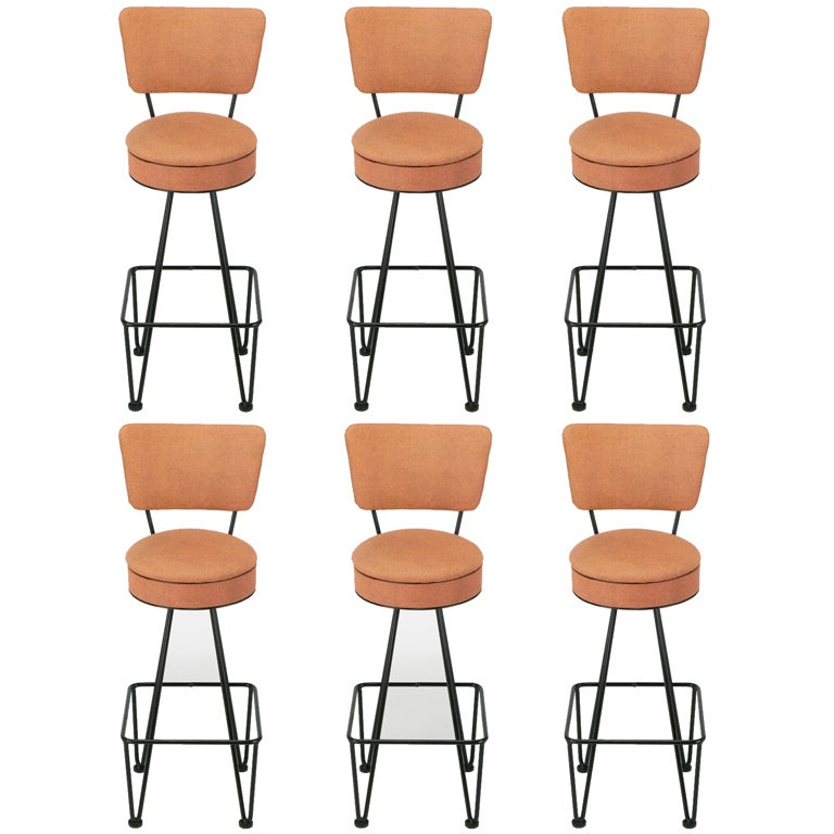Six Wrought Iron Bar Stools After Frederick Weinberg At