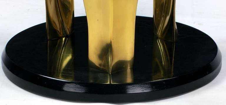 Black Lacquer and Brass Palm Leaf Cocktail Table For Sale 1
