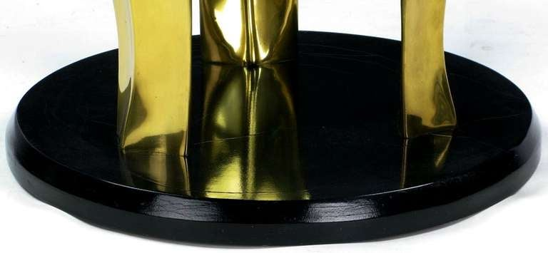 Black Lacquer and Brass Palm Leaf Cocktail Table For Sale 2
