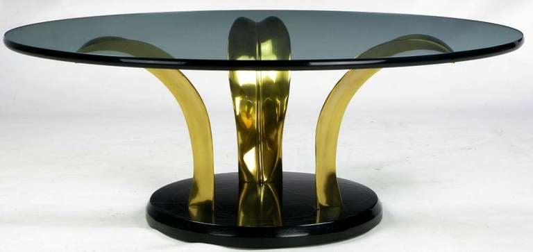 Black Lacquer and Brass Palm Leaf Cocktail Table For Sale 3
