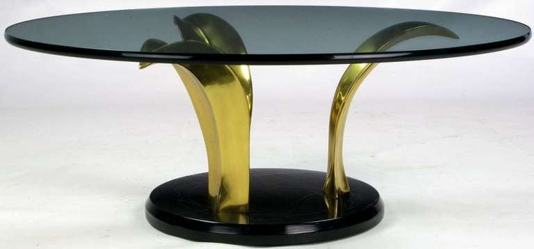 Black Lacquer and Brass Palm Leaf Cocktail Table In Good Condition For Sale In Chicago, IL