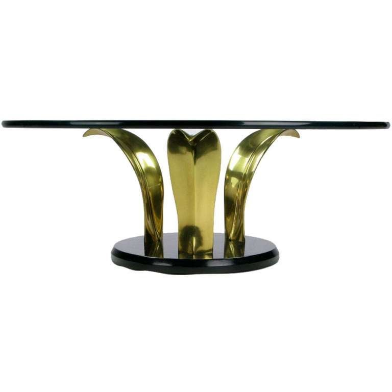 Late 20th Century Black Lacquer and Brass Palm Leaf Cocktail Table For Sale
