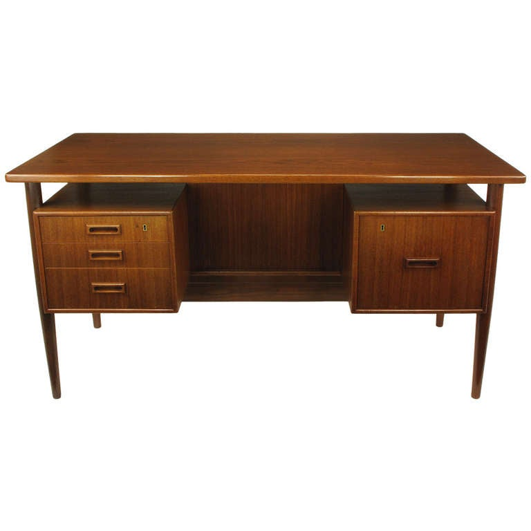 Floating Drawer danish teak executive desk with floating drawers for sale at 1stdibs