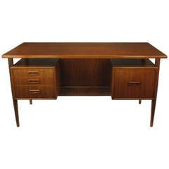 Danish Teak Executive Desk With Floating Drawers