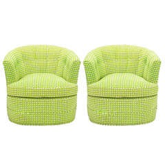 Pair Barrel Back Swivel Chairs In Chartreuse Needlepoint