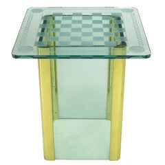 Elegant Etched Glass Game Table in the Style of Pace Collection