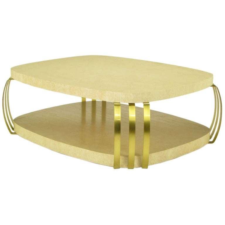 Henredon Cerused Oak And Brass Bar Postmodern Coffee Table