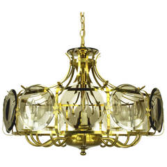 Twelve-Arm Brass Chandelier with Smoked Glass Disc Lenses