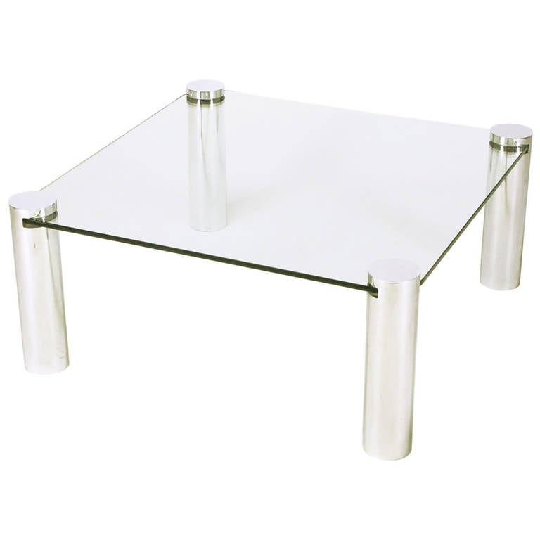 Modrest Upton Modern Square Glass Coffee Table Coffee: Italian Style Chrome Cylinder And Glass Square Coffee