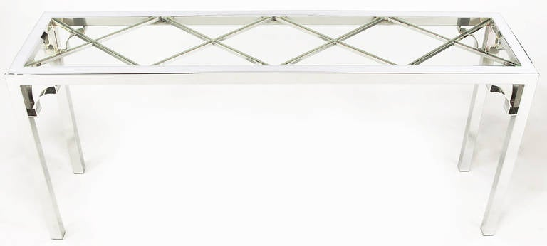 Chromed steel Parsons frame table, with diamond pattern under inset glass top, with open bracket corner detail. Often mistakenly attributed to Milo Baughman's work for Thayer Coggin and DIA.
