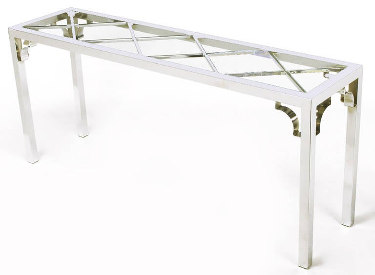 American Chrome and Glass Chinese Chippendale Console Table For Sale