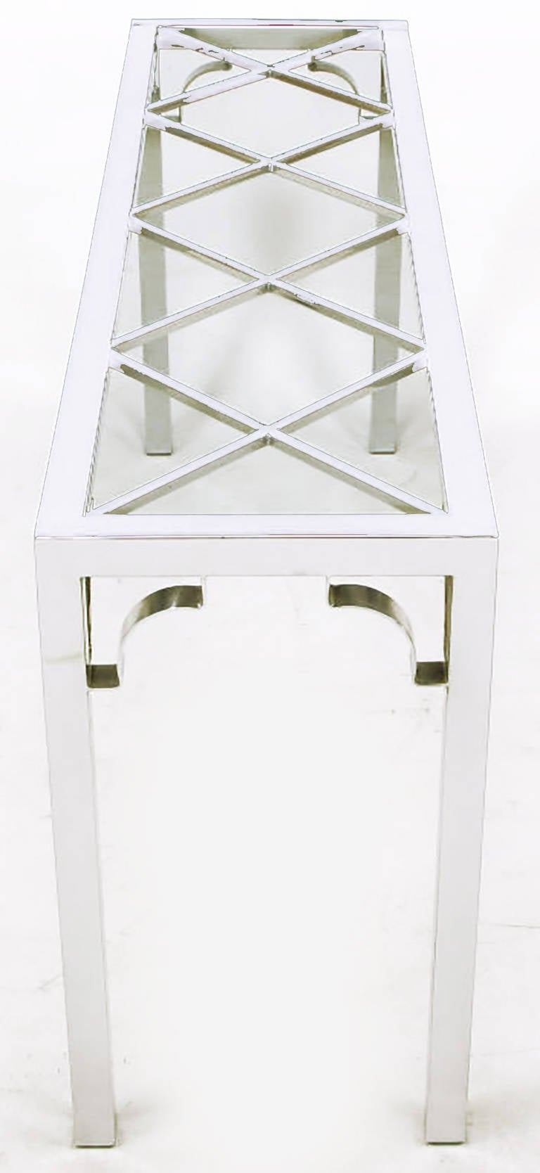 Chrome and Glass Chinese Chippendale Console Table In Good Condition For Sale In Chicago, IL