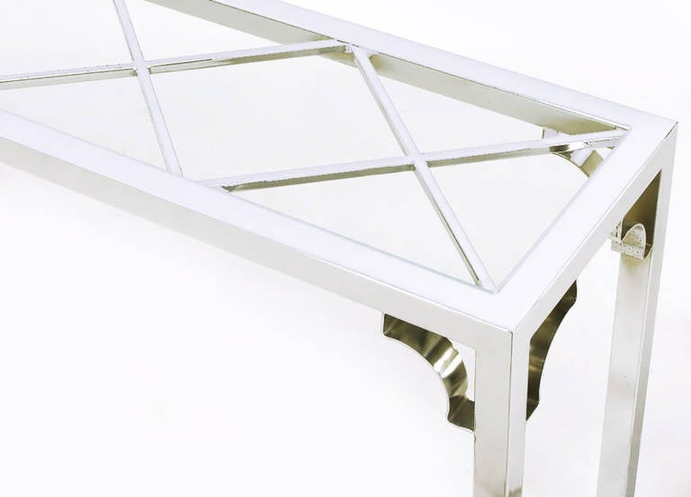 1970s Chrome and Glass Chinese Chippendale Console Table For Sale