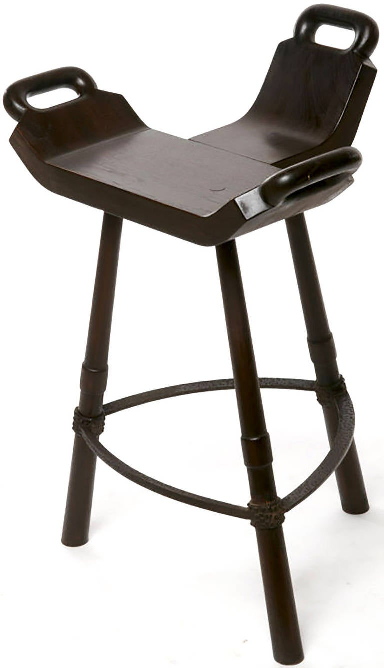 Pair Of Primitive Birthing Chair Inspired Bar Stools At