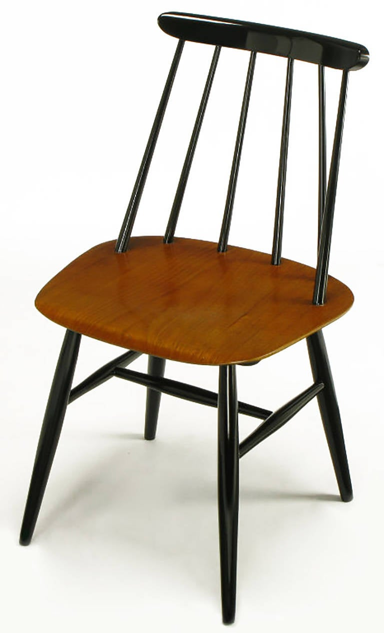 six ilmari tapiovaara teak and black lacquer dining chairs for sale at 1stdibs. Black Bedroom Furniture Sets. Home Design Ideas