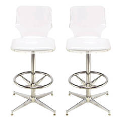 Pair of Chromed Steel and Bent Lucite Swiveling Bar Stools