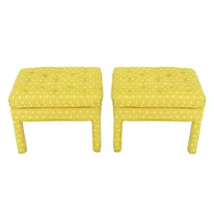 Pair of Fully Upholstered Button-Tufted Parsons Benches