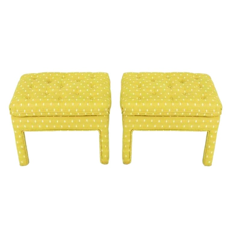 Pair of Fully Upholstered Button-Tufted Parsons Benches For Sale