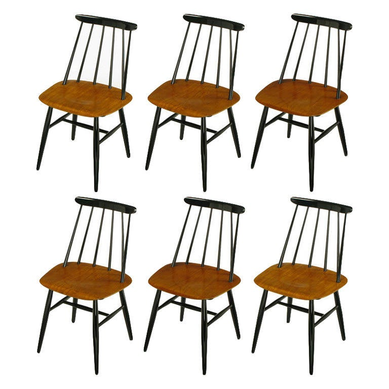Six Ilmari Tapiovaara Teak And Black Lacquer Dining Chairs 1