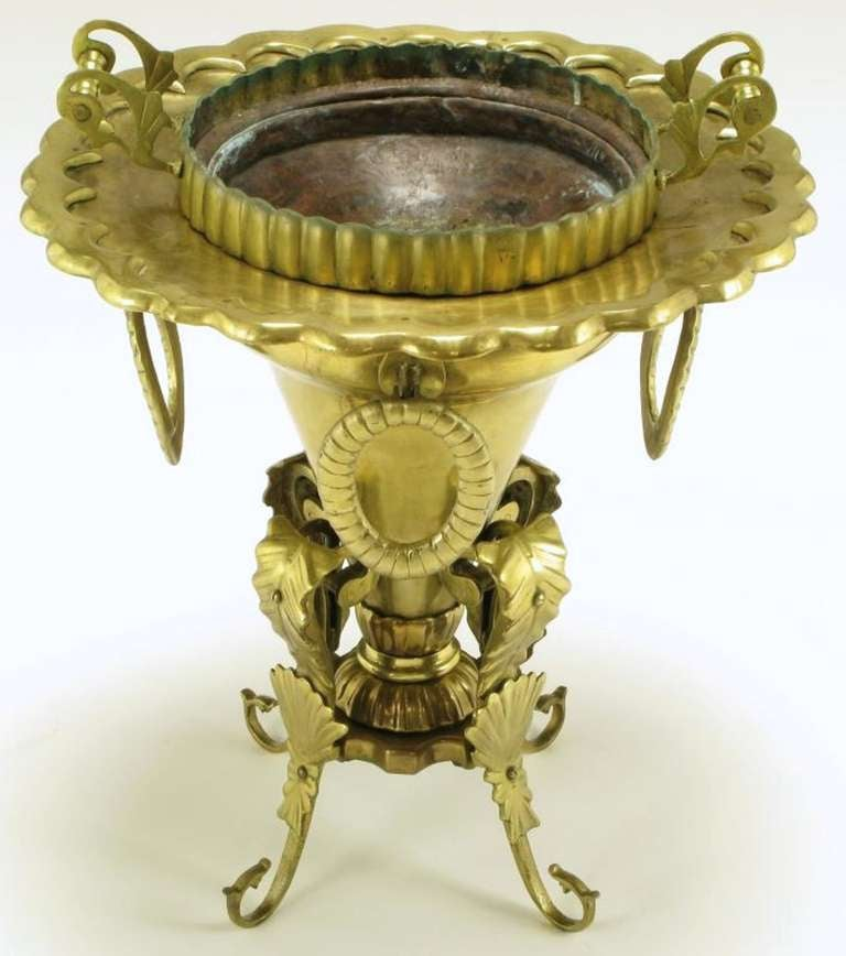 Moroccan Pierced and Ornamented Brass Coal Burning Stove For Sale 1