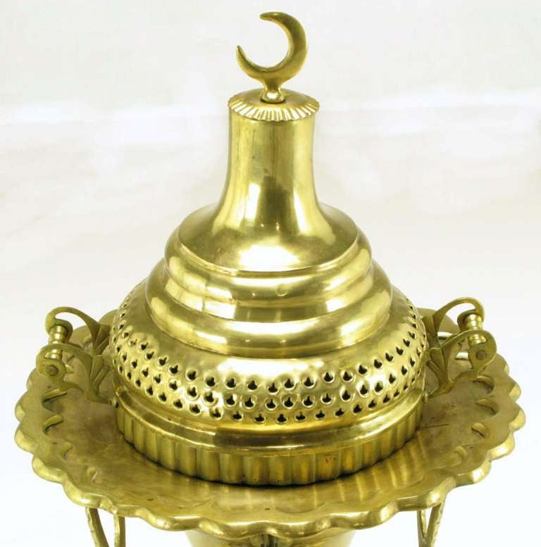 Moroccan Pierced and Ornamented Brass Coal Burning Stove 2