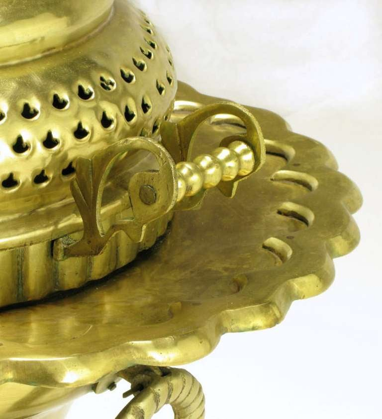 Moroccan Pierced and Ornamented Brass Coal Burning Stove For Sale 2