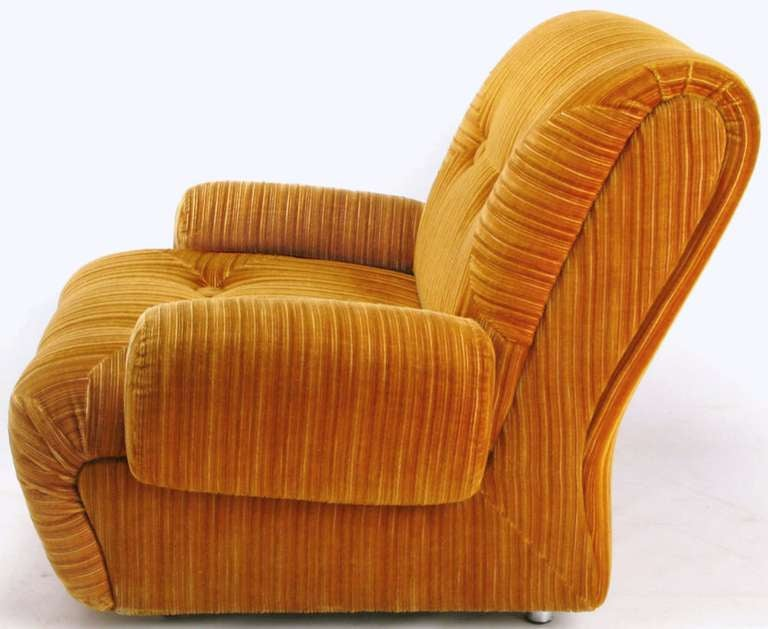 American Art Deco Revival Club Chair In Orange Striped Cut Velvet For Sale